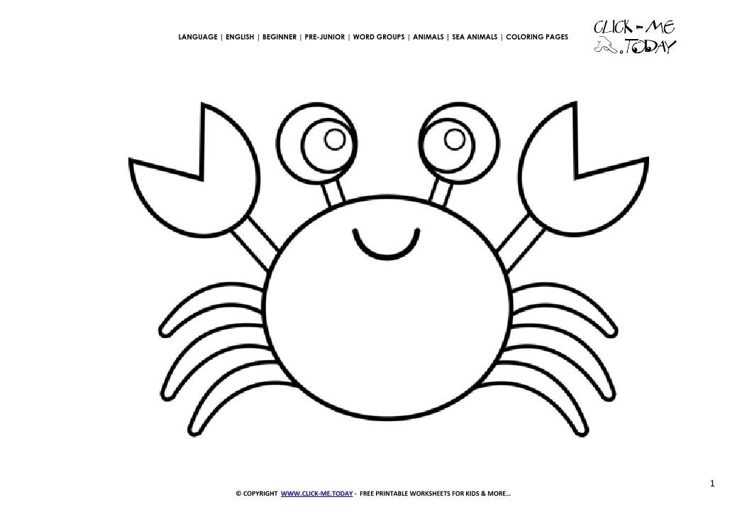 Click To See Printable Version Of Cartoon Crab Color By