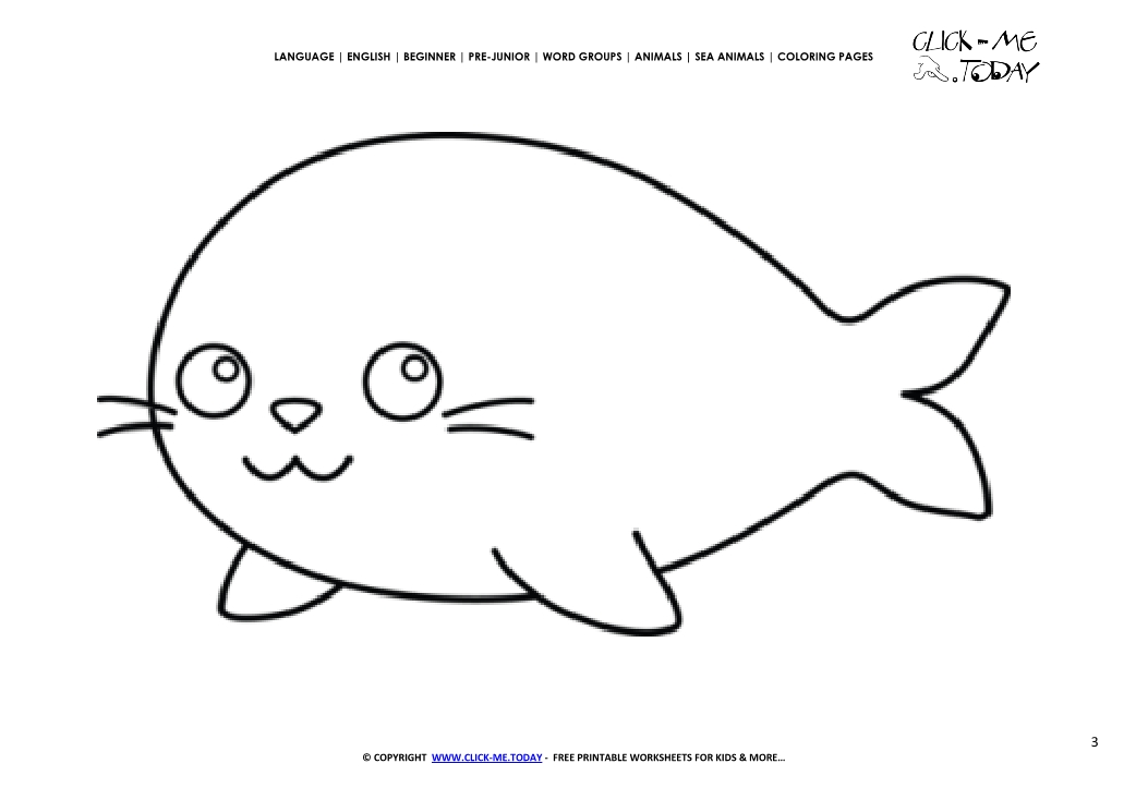 Coloring Page Seal Color Picture Of Seal