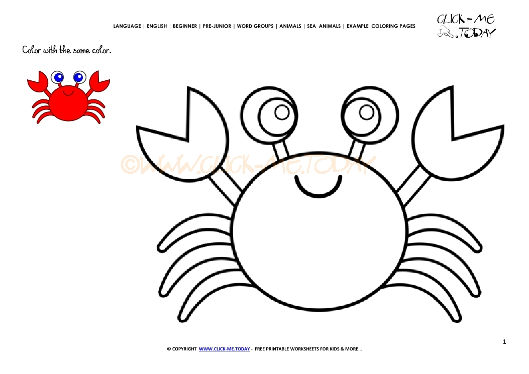 example coloring page crab color picture of crab - Crab Coloring Pages