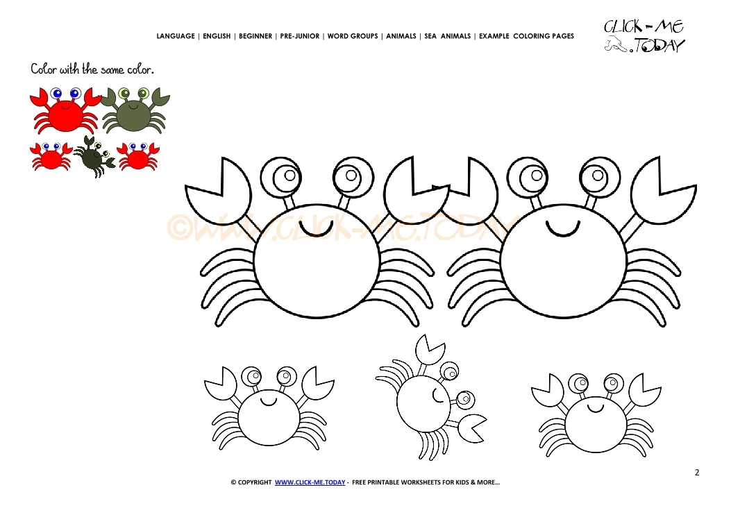 Example coloring page Crabs - Color picture of Crabs