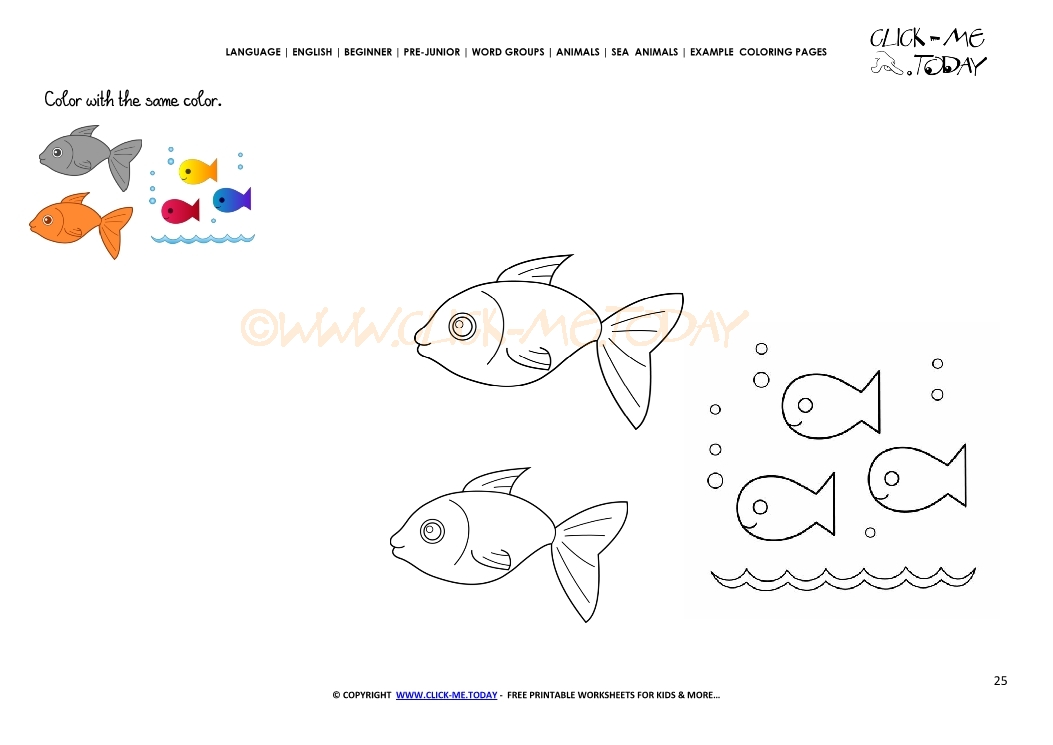 Example Coloring Page Fish Family Color Picture Of Fish
