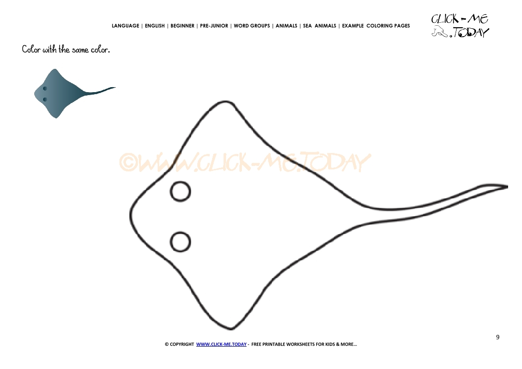 Example Coloring Page Stingray Color Picture Of Stingray