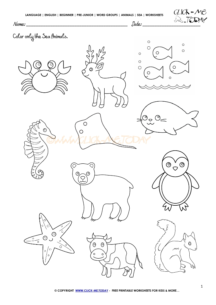 Printable Worksheets animals printable worksheets : Animals Worksheet - Activity sheet Color 1