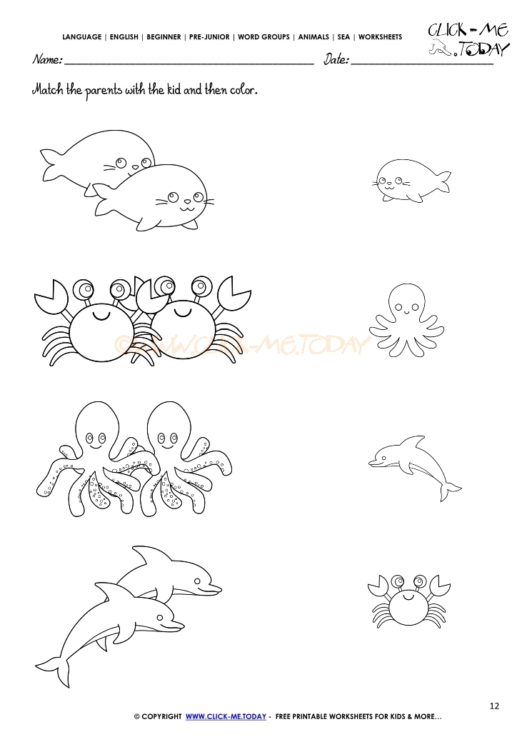 ocean animal color pages