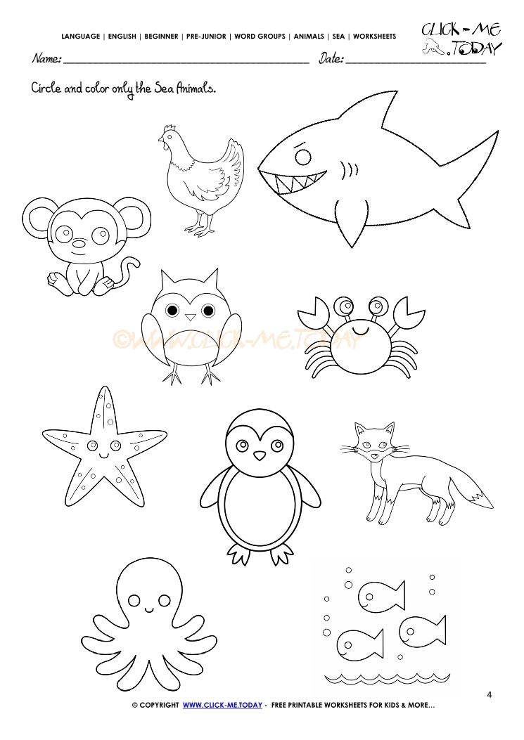 Ocean Animals Worksheets : Sea animals worksheet activity sheet circle
