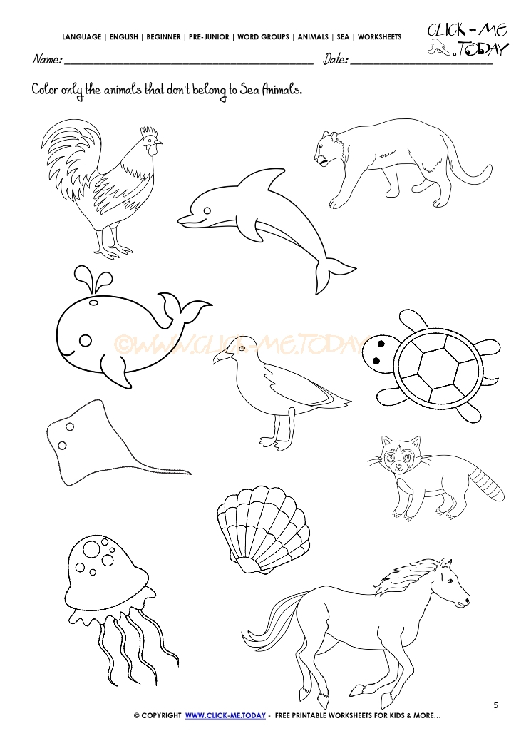 Worksheets With Animals On It : Printable ocean coloring sheets pages