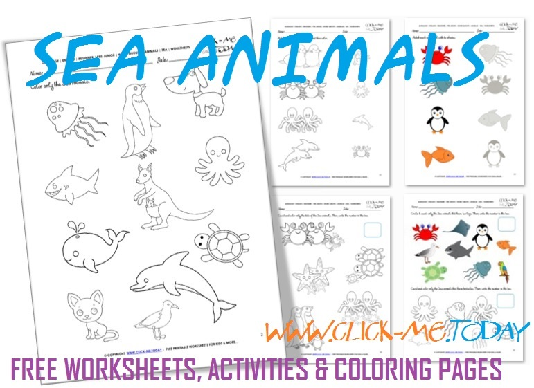 Free Printable Sea Animals Worksheets