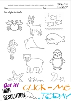 Sea Animals Worksheet - Activity sheet Color 1
