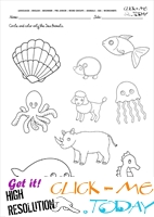 Sea Animals Worksheet - Activity sheet Circle 3