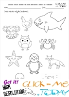 Sea Animals Worksheet - Activity sheet Circle 4