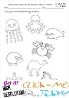 Sea Animals Worksheet - Activity sheet Color 6