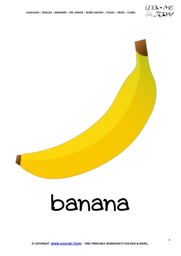 photo relating to Banana Printable called Printable Banana flashcard Wall card of Banana