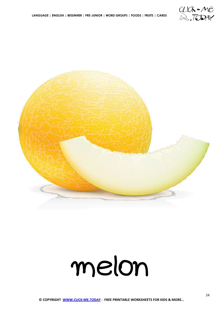 Printable Melon flashcard Wall