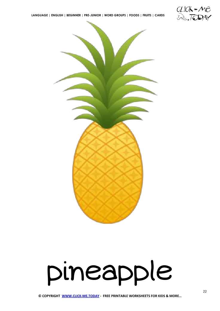 image regarding Printable Pineapple titled Printable Pineapple flashcard Wall card of Pineapple
