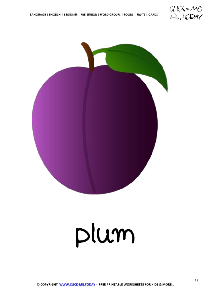 Printable Plum Flashcard Wall Card