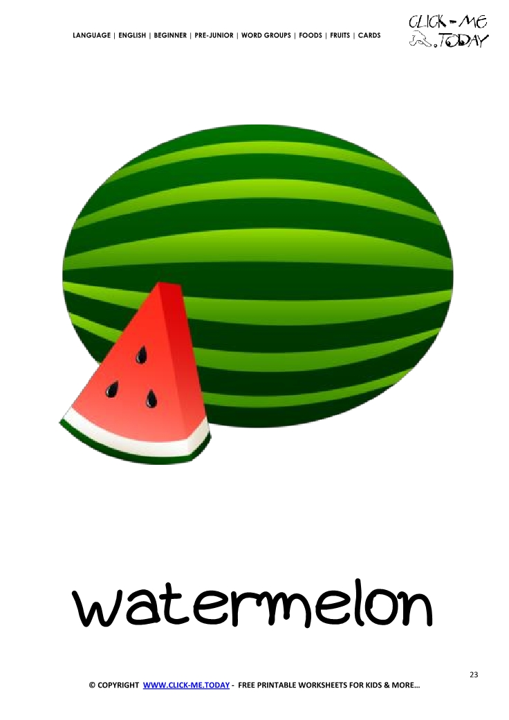 image about Watermelon Printable referred to as Printable Watermelon flashcard Wall card of Watermelon