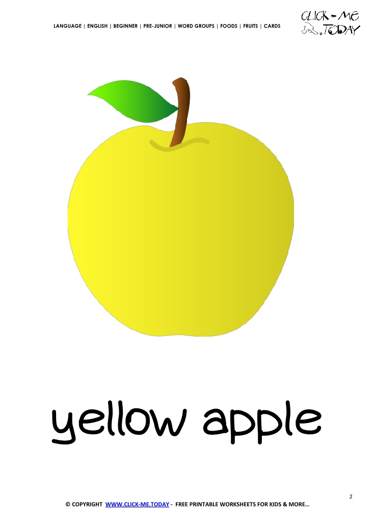 photo regarding Printable Apple Pictures identify Printable Apple flashcard Wall card of Yellow Apple