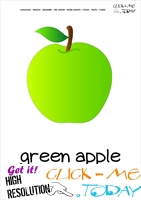 Printable Apple flashcard | Wall card of Green Apple
