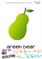 Printable Pear flashcard | Wall card of Green Pear