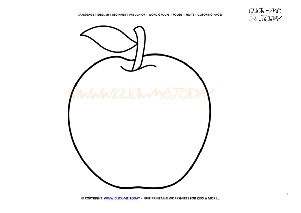 Apple Coloring Page Free Printable Cut Out Templaterhclickmetoday: Apple Coloring Pages For Preschoolers Printable At Baymontmadison.com