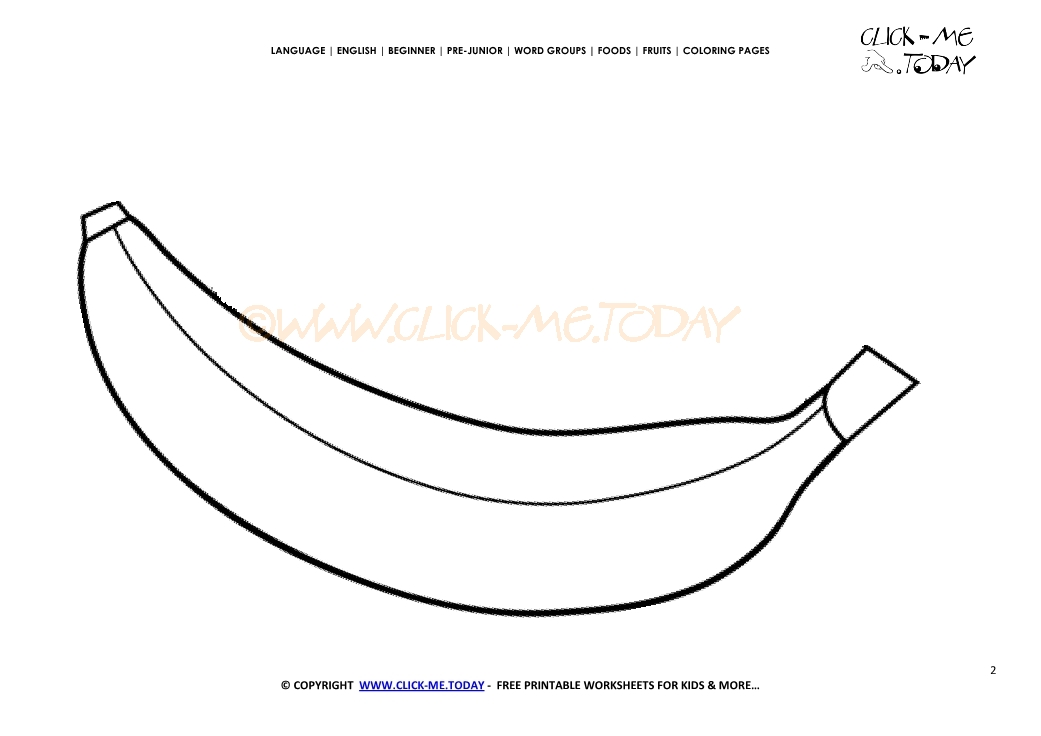photograph about Banana Printable named Banana coloring website page - Totally free printable Banana reduce out template