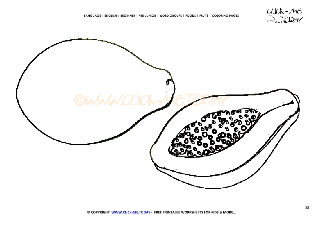 papaya coloring page free printable papaya cut out template