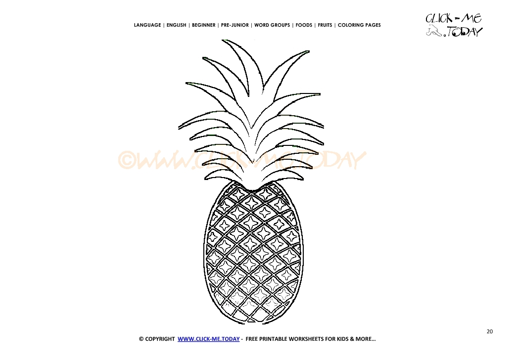 graphic about Printable Pineapple called Pineapple coloring site - Cost-free printable Pineapple slash out