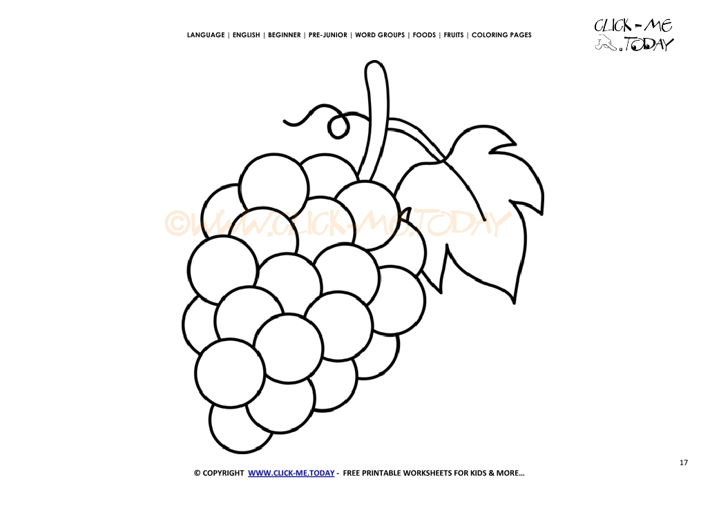 Purple grapes coloring page free printable grapes cut out template