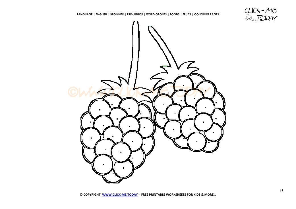Raspberries Coloring Page Free Printable Raspberries Cut Out Template