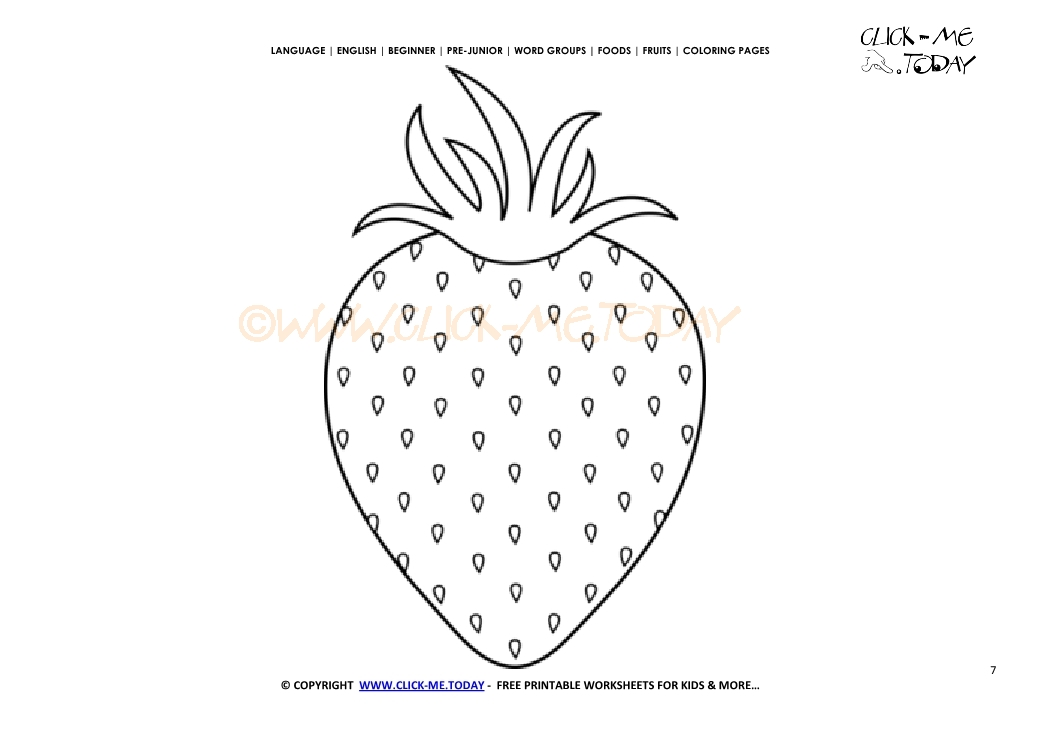 Strawberry coloring page - Free printable Strawberry cut out template