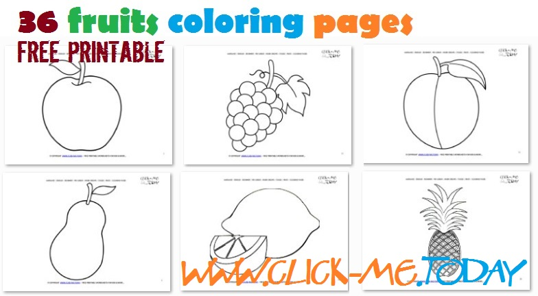Free printable fruits coloring pages