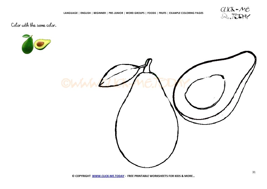 Get Printable Avocado Coloring Page