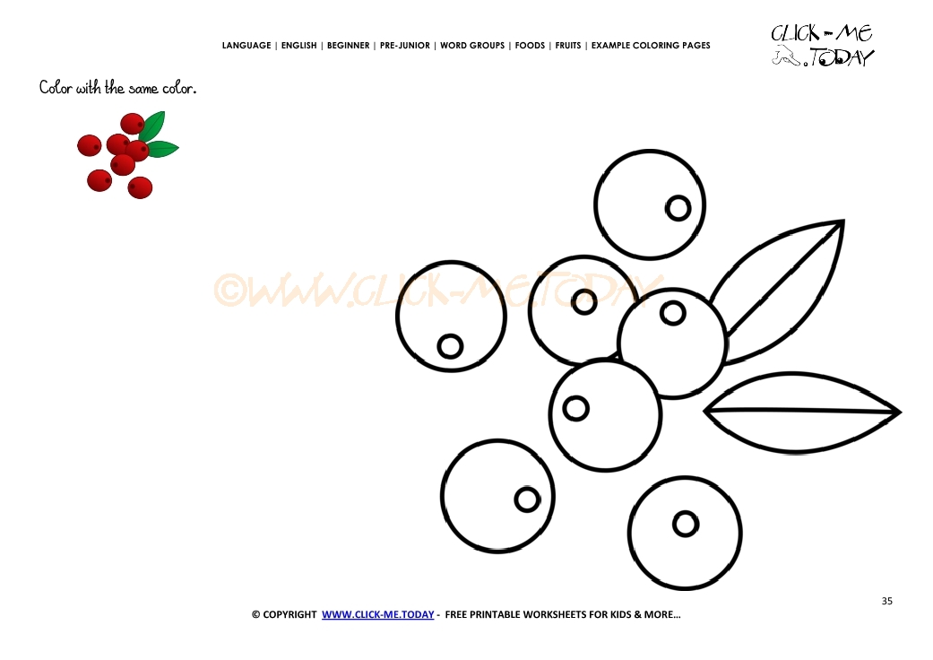 Example Coloring Page Cranberries Color Picture Of Cranberries