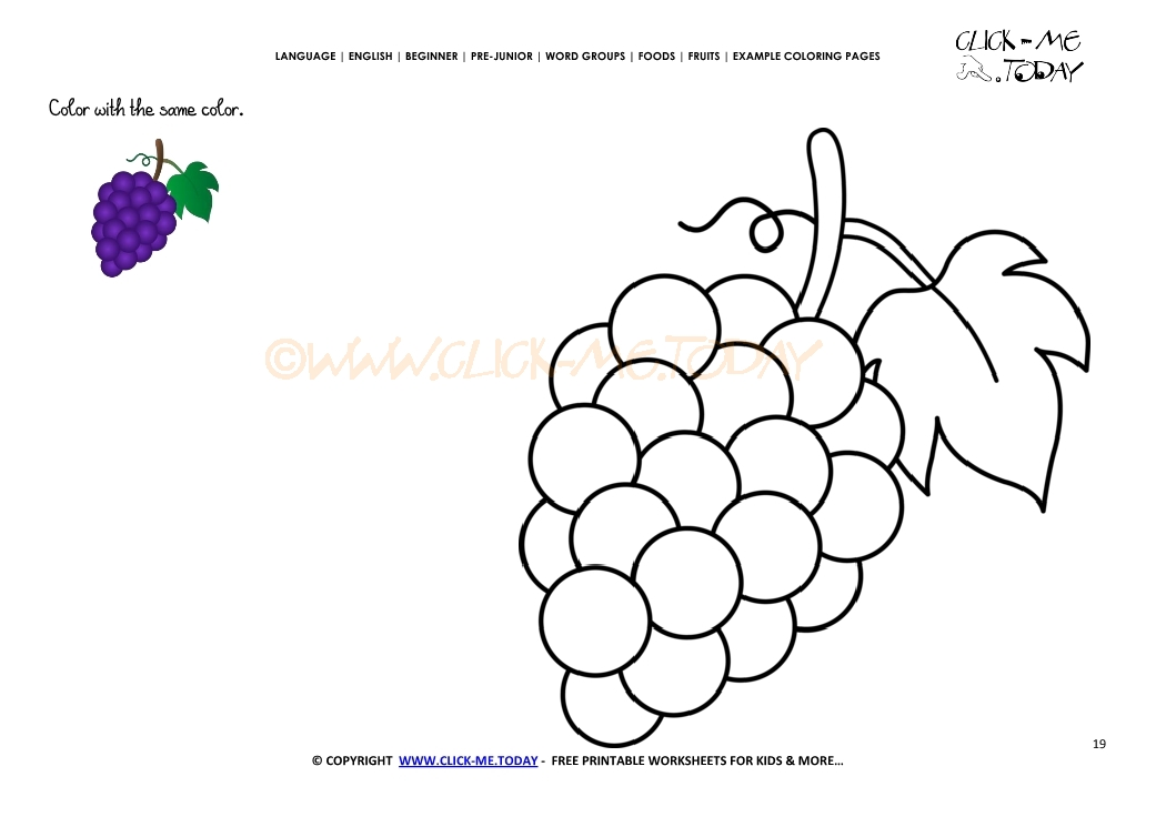 Example Coloring Page Purple Grapes