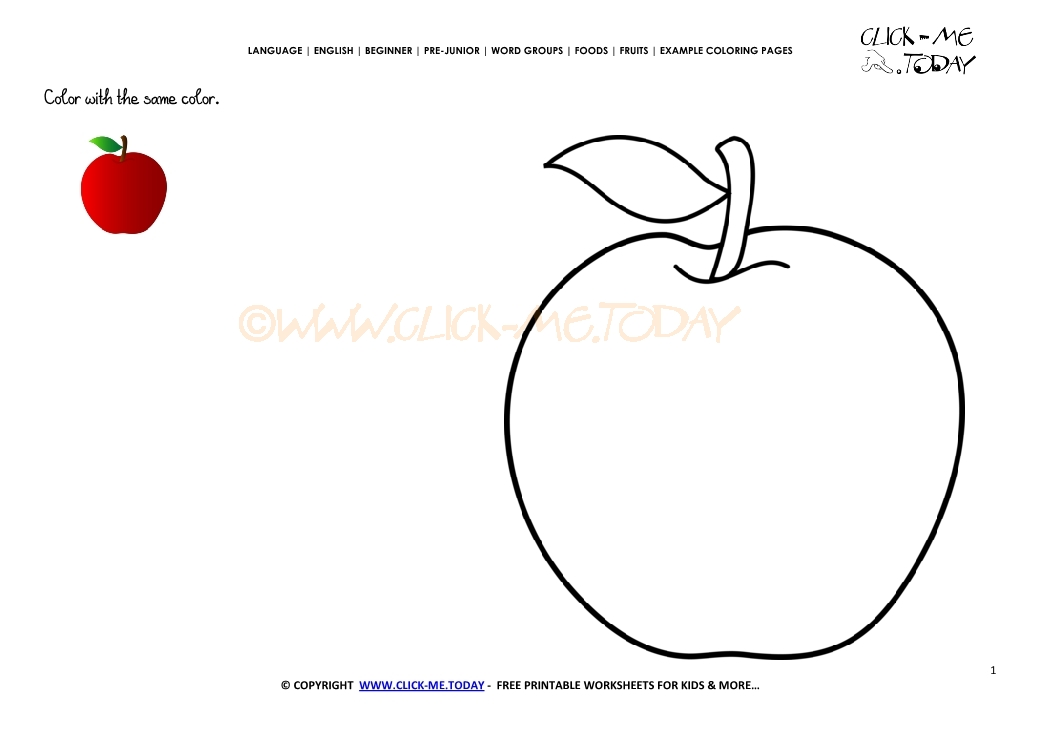 coloring page Red Apple Color picture of Apple – Color Red Worksheets