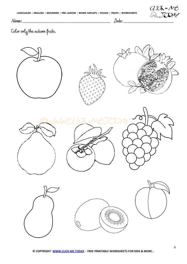 Fruits Worksheet 9 Color only the autumn fruits