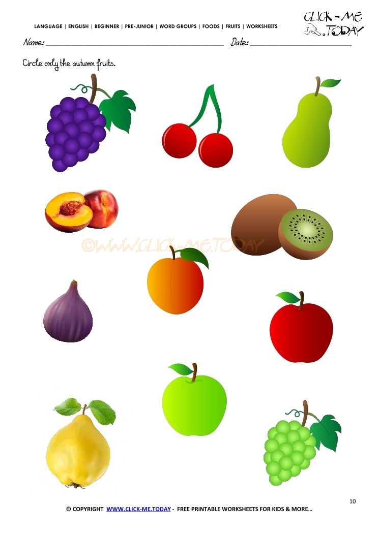 Fruits Worksheet 10