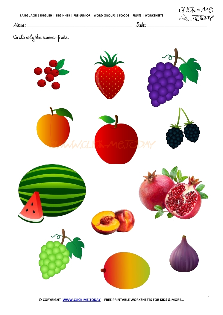 Fruits Worksheet 6 - Circle only the summer fruits