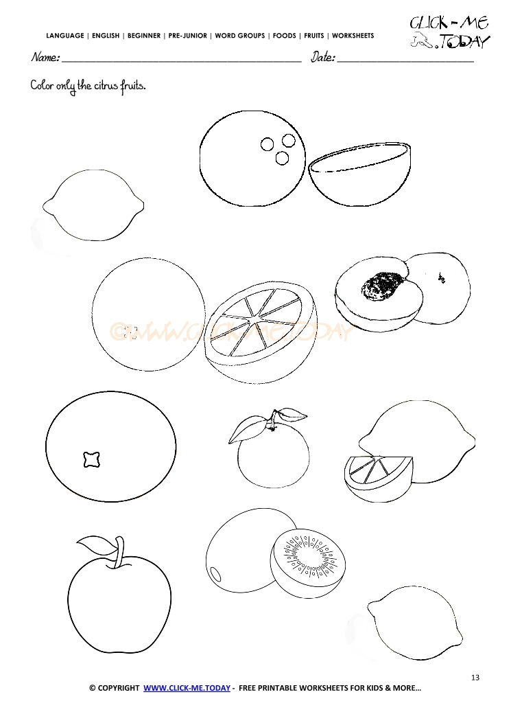 Citrus Fruits Coloring Worksheets on free worksheets for kindergarten s