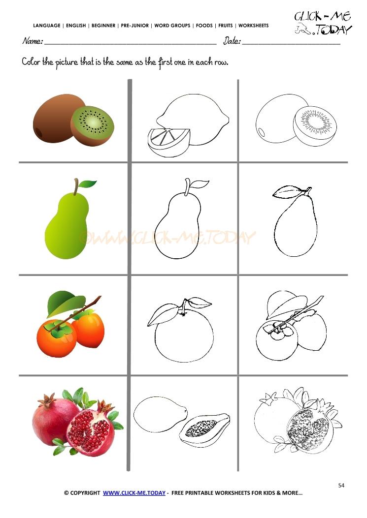 Fruits Worksheet 54 Color the