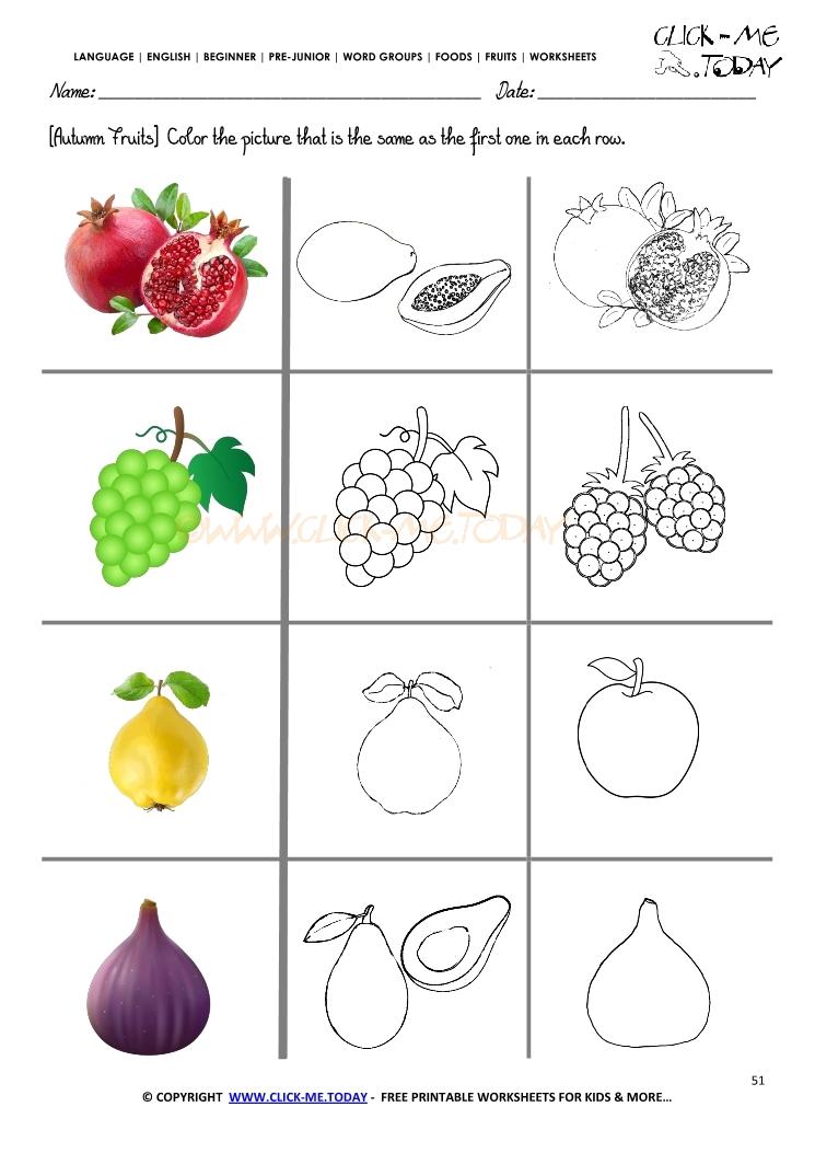 Fruits Worksheet 51 Color the