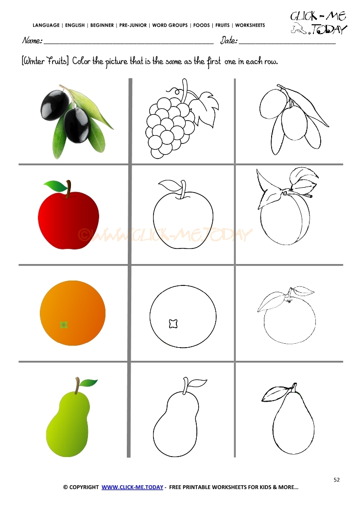 Fruits Worksheet 52 Color the