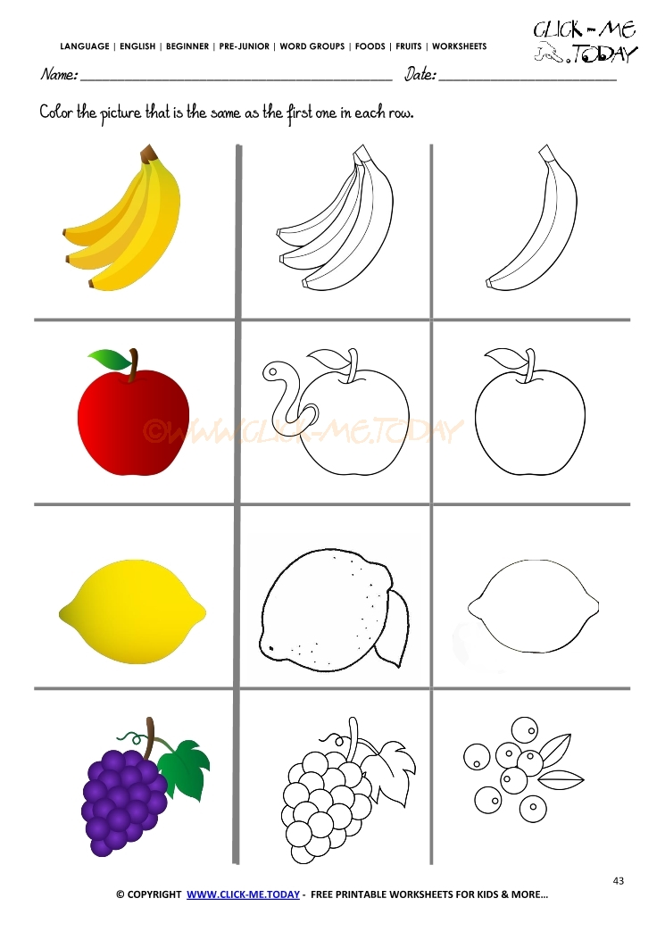 Fruits Worksheet 43 - Color the same Fruit