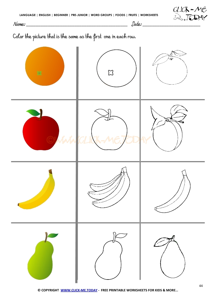 fruits worksheet 44   color the same fruit worksheet