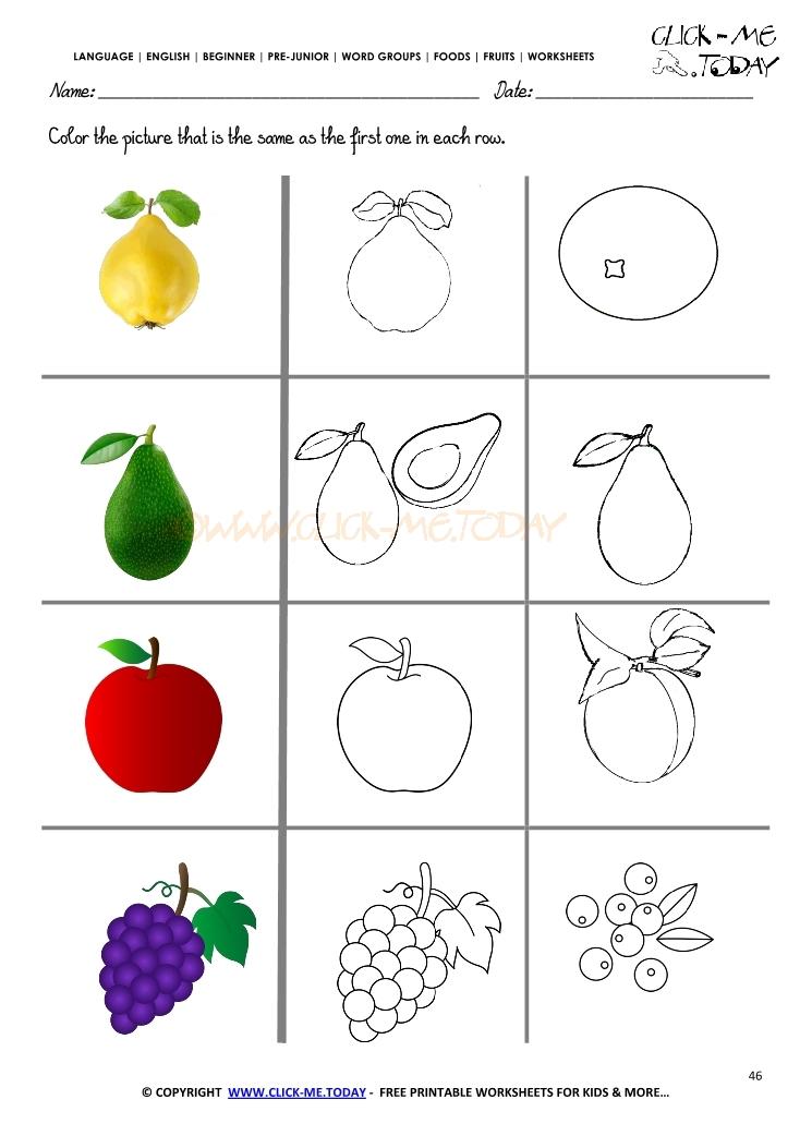 Fruits Worksheet 46 - Color the same Fruits Worksheet