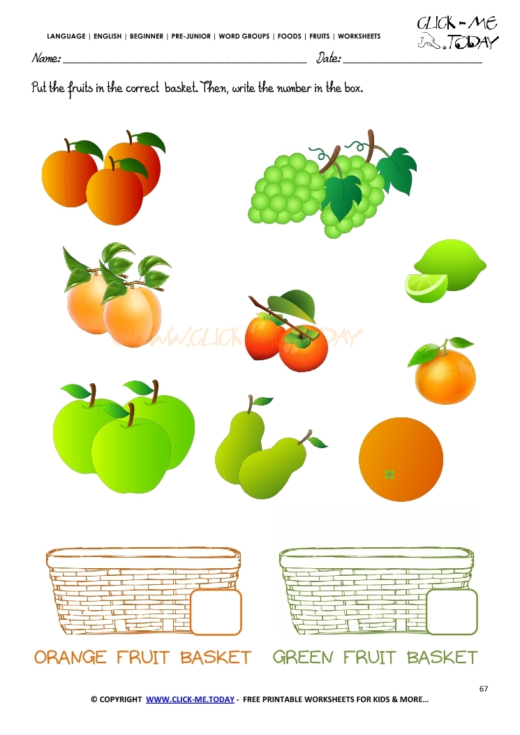 Fruits Worksheet 67 Count orange