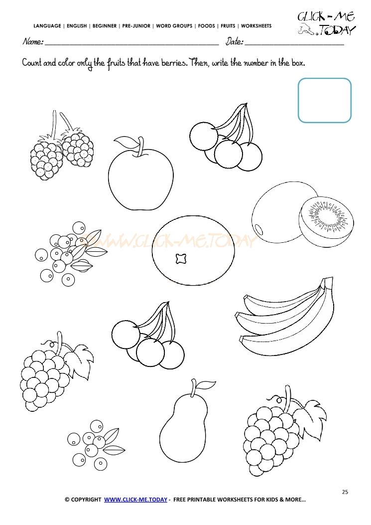 Fruits Worksheet 25 Count And Color Only The Fruits That