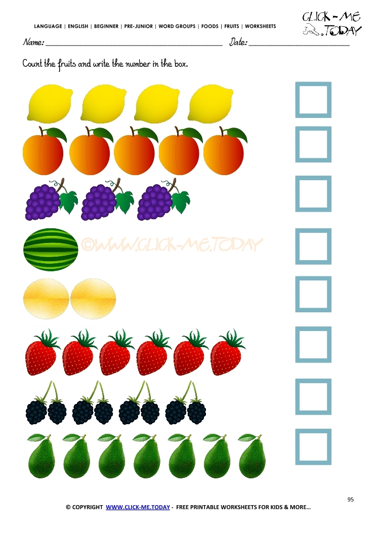 fruits worksheet 95 counting fruits worksheets. Black Bedroom Furniture Sets. Home Design Ideas