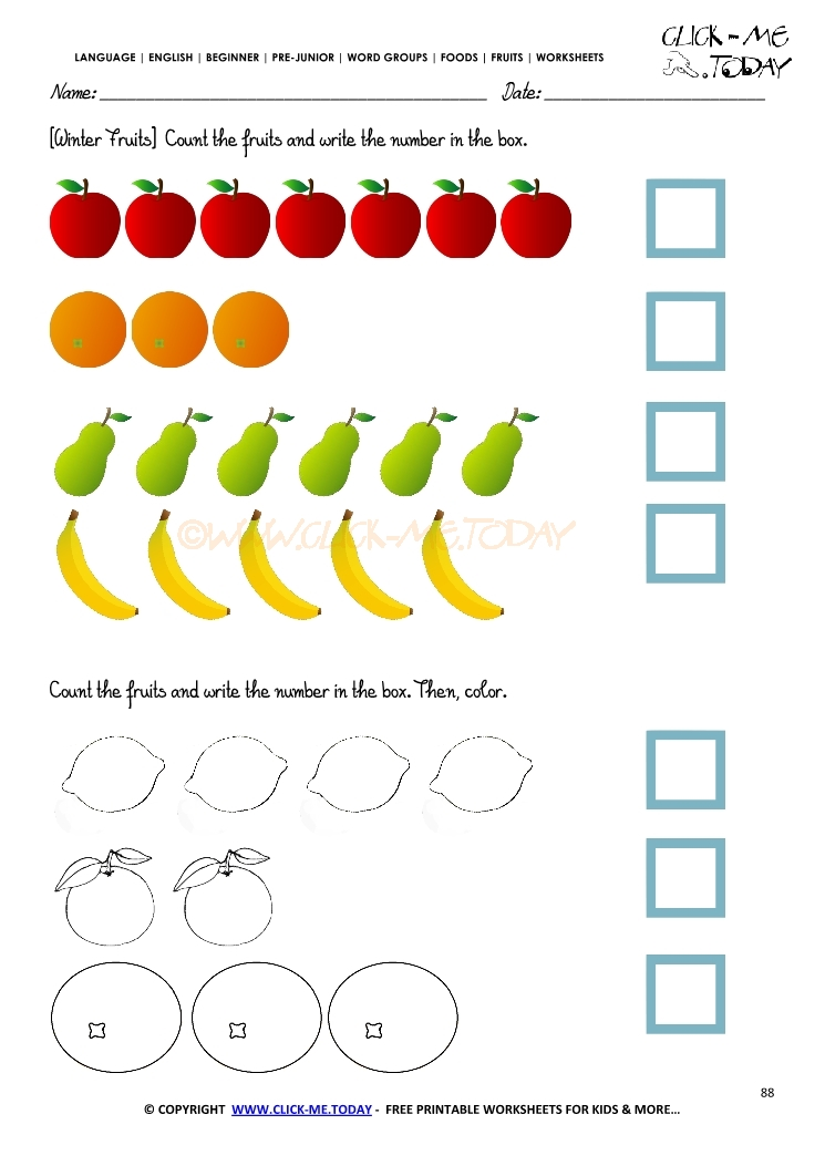 Fruits Worksheet 88 Counting