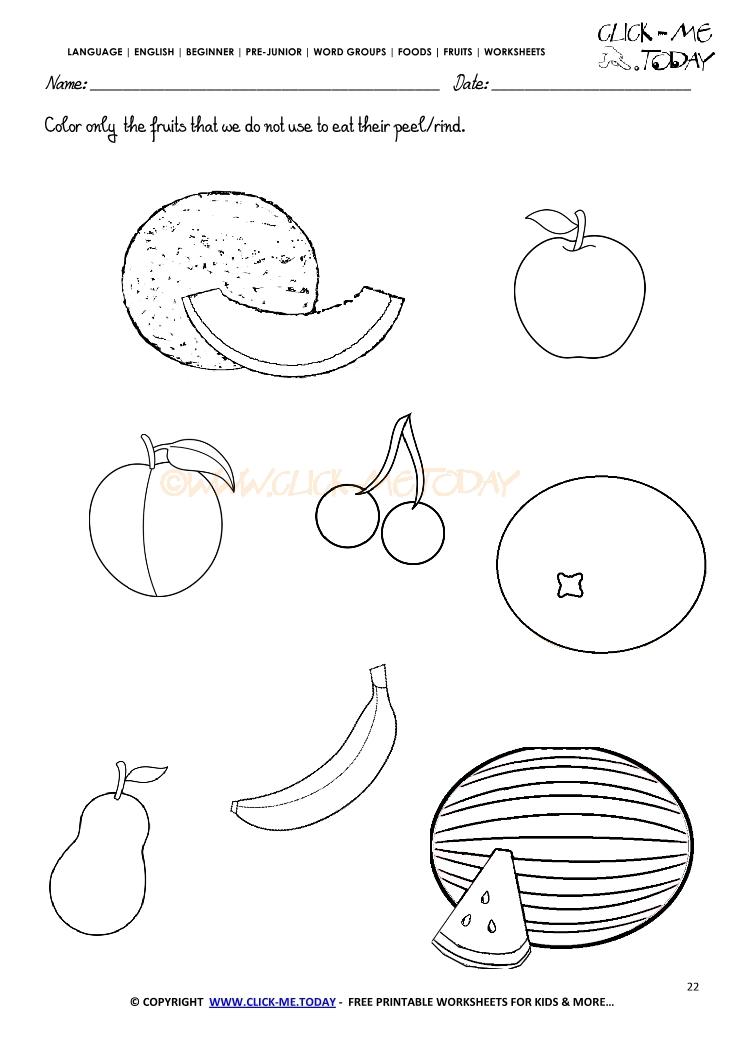 Fruits Worksheet 22 Color only